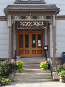 Town Hall sign and container gardens